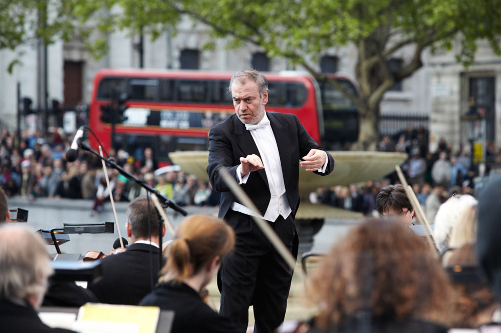 Valery Gergiev, conducting the London Symphony Orchestra at the premiere of BMW LSO Open Air Classics at London's Trafalgar Square on May 12, 2012.