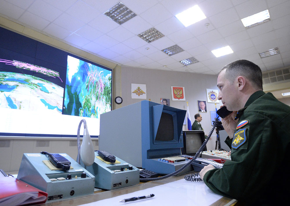 An officer inside the command center of the Don-2-N multirole radar near the town of Sofrino in the Moscow Region.