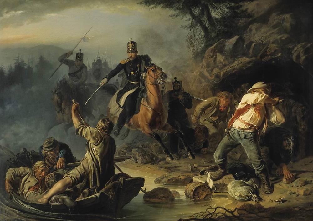 """Wassilij Chudjakow, Gemälde """"Zaristische Grenzwachen überraschen finnländische Schmuggler"""". Foto: Pressedienst der Tretjakow-Galerie"""
