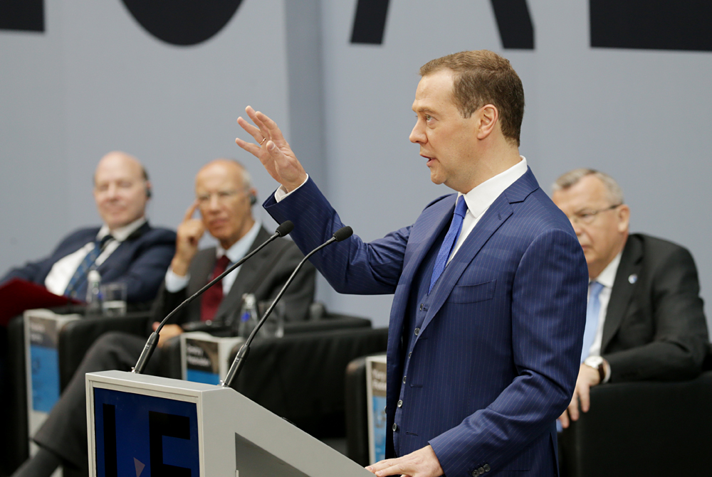 Russian Prime Minister Dmitry Medvedev speaks at the 2016 St. Petersburg International Legal Forum,  May 18, 2016.