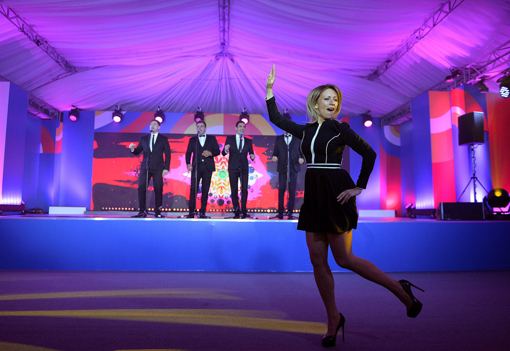 Russian Foreign Ministry spokeswoman Maria Zakharova dances during the reception in honour of heads of the delegations at the Russia-ASEAN summit in Sochi, Russia