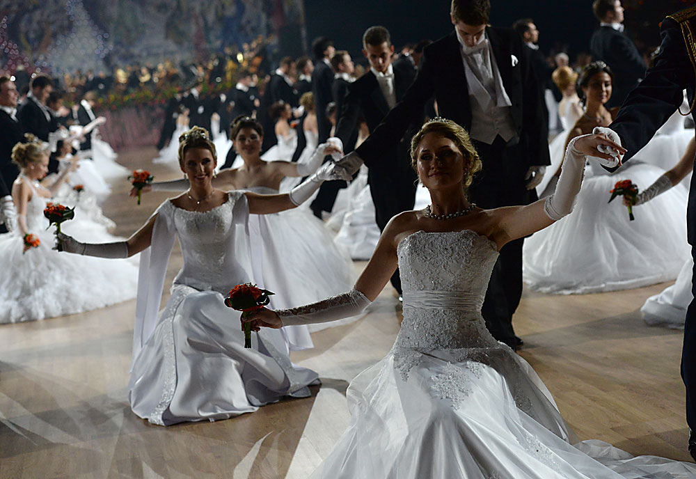 Participants in the 14th Viennese Charity Ball held in Moscow's Gostiny Dvor.