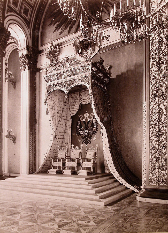 View of the throne in Andreevsky Hall in the Grand Kremlin Palace.