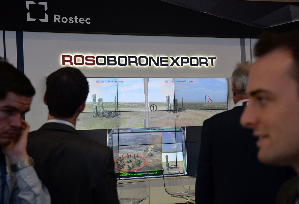 The showcase of Rosoboronexport at Farnborough International Airshow 2014.