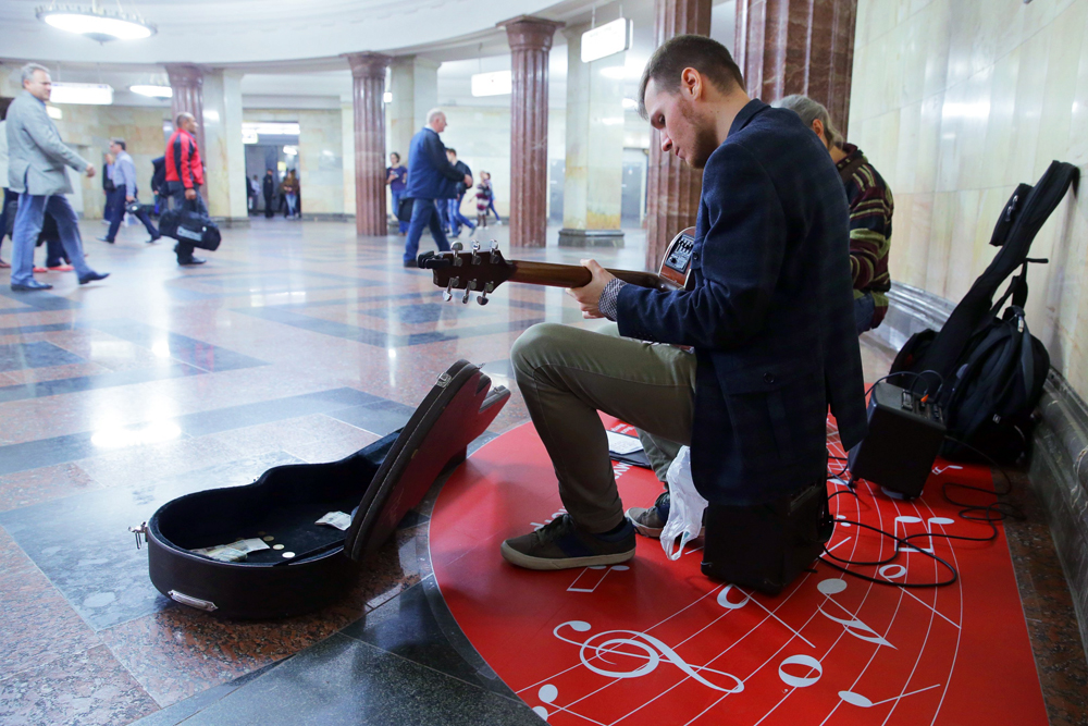 MOSCOW, RUSSIA - MAY 25, 2016: Musicians perform during the launching event for the Music in Metro project at Kurskaya Station of the Moscow Underground.