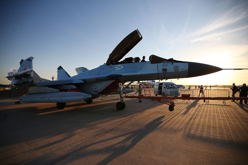 A MiG-29K fighter jet on display at the opening of the 2015 MAKS International Aviation and Space Salon in the town of Zhukovsky, Moscow region.