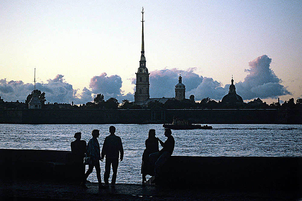 The St. Peter and Paul Fortress in St. Petersburg during the famous White Nights period.
