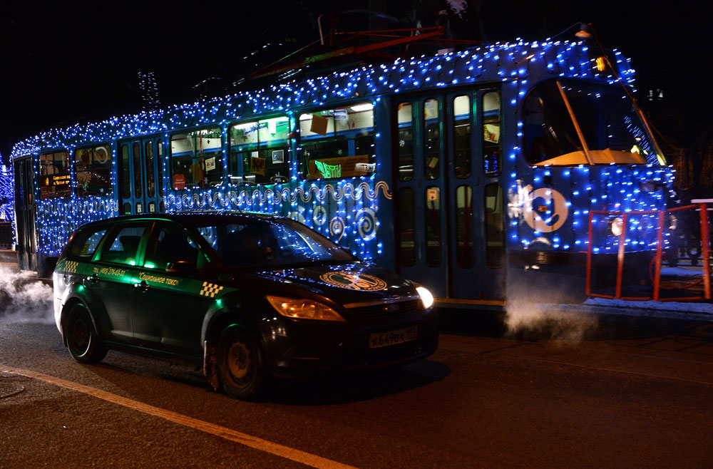 The New Year tram in Moscow