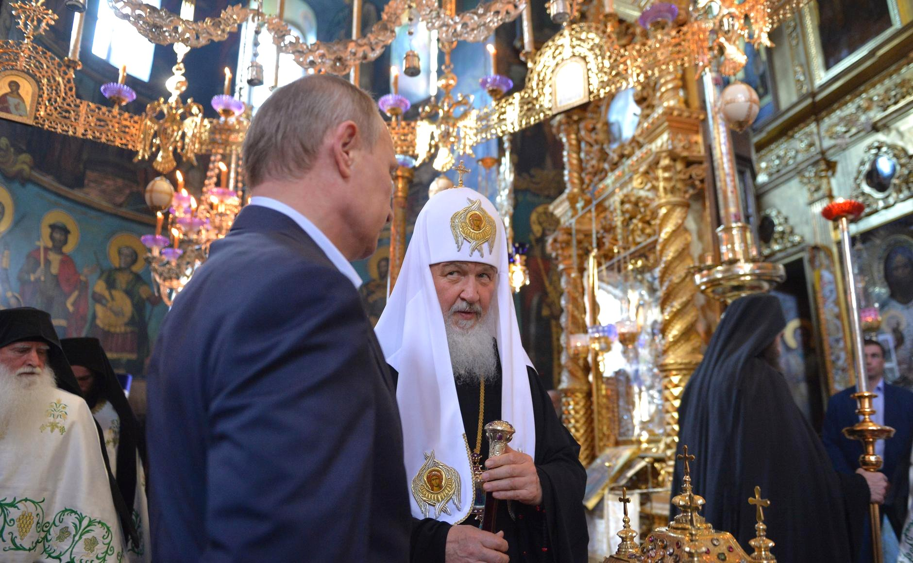 Vladimir Putin visits the St Panteleimon Monastery on Mount Athos with Patriarch Kirill of Moscow and All Russia, May 28.