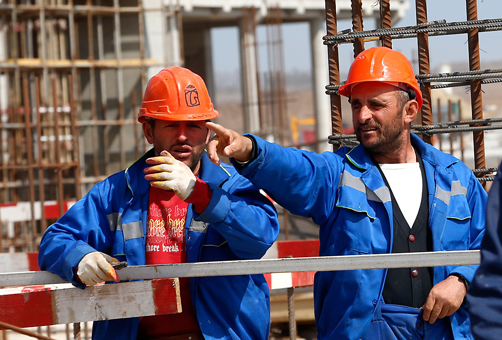 Workers at the construction site of the Yuzhny Airport's passenger terminal in Rostov-on-Don.