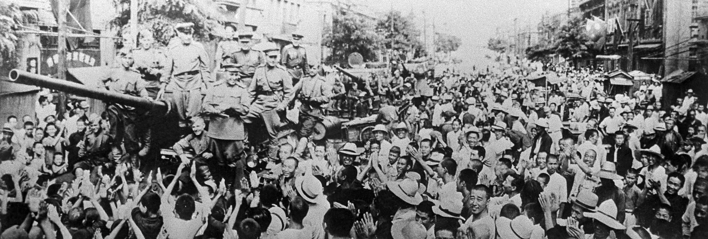 Manchuria, China. Locals greet Soviet liberators after Japan's surrender on Sept. 2, 1945, ending World War II in the Pacific. Source: