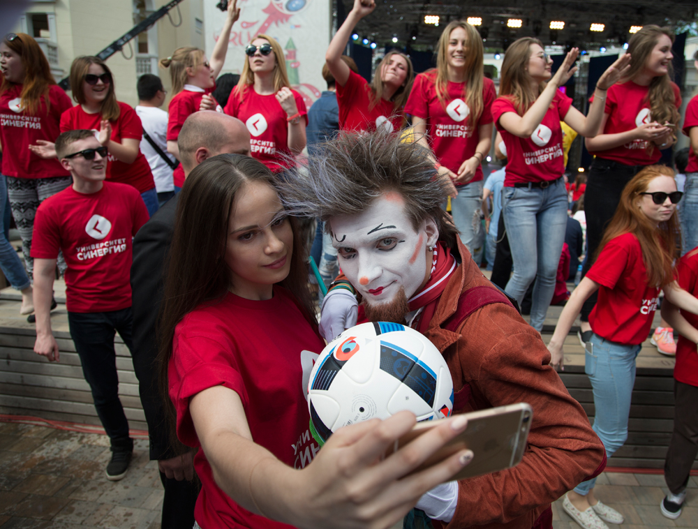 Russian volunteers make a selfie before Volunteer Programme launching ceremony, in Moscow, Russia, 01 June 2016. Presidents of Russia and FIFA launch the volunteer-selection campaign for the FIFA Confederations Cup 2017 and 2018 FIFA World Cup Russia.