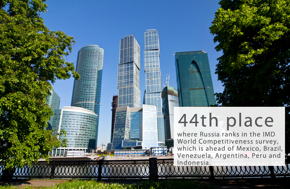 On May 30, the IMD World Competitiveness Center released a global competitiveness report. The Russian Federation took 44th place, which is one place higher than in 2015. The IMD World Competitiveness ranking is the leading assessment of the competitiveness of 61 countries based on more than 340 criteria divided into four principal groups: economic performance, government efficiency, business efficiency and the state of infrastructure.Based on IMD criteria, the major strengths of the Russian economy are the state of public finances, tax policy and the labor market. At the same time labor productivity, organizational structure and governance practices were listed as constraining economic development in the country.The Moscow Business School indicated the main challenges that will affect Russia's economic performance in 2016. They include a dramatic decrease of customer demand and purchasing capacity, new actors on the global energy market, low investment activity and parliamentary elections. The growing threat of local and global terrorism is also a major concern.Read more: Why is Russia borrowing money on the foreign markets?