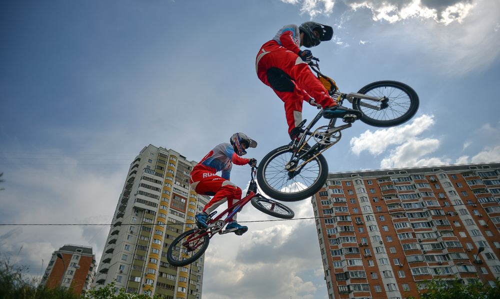 Alexander Katyshev, right, and Yevgeny Komarov of the Russian national BMX cycling team during a training session.
