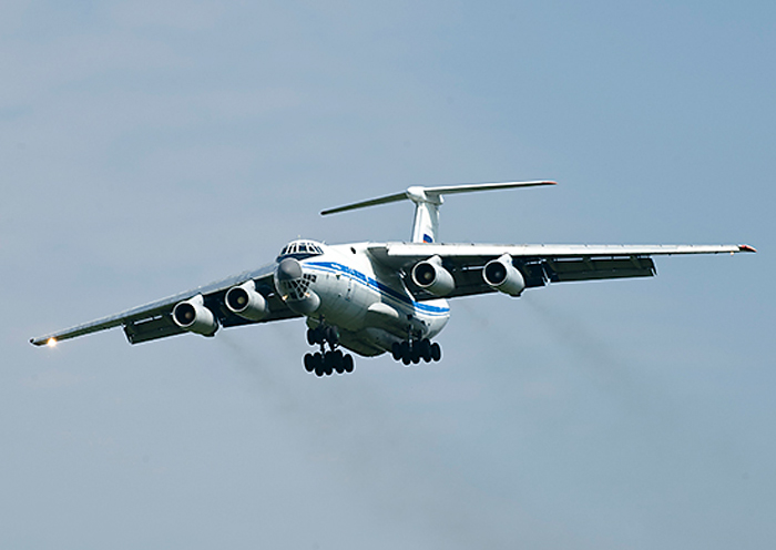 The Russian military transport Ilyushin Il-76 plane.