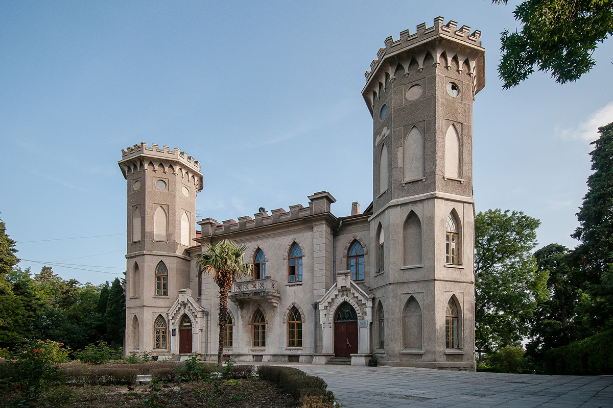 Here, in the grey building of an old estate that resembles a medieval castle, in the town of Gaspra in Crimea, the most famous Russian writer Leo Tolstoy and his family stayed for almost a year.