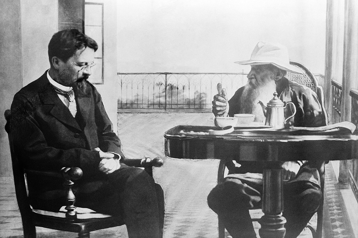 During his stay Tolstoy welcomed many friends, among them were the famous writers Chekhov, Gorky, and Korolenko. / Anton Chekhov and Leo Tolstoy drinking tea at the balcony in Gaspra, Crimea.