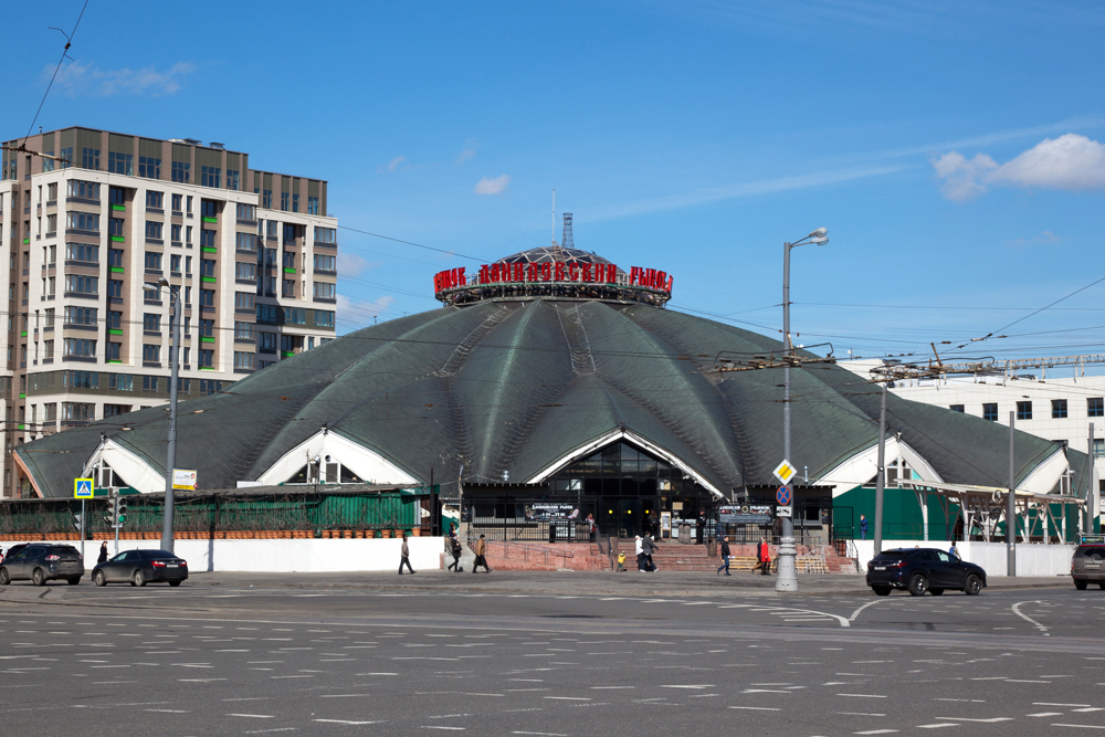 The oldest Moscow market is covered by a dome.