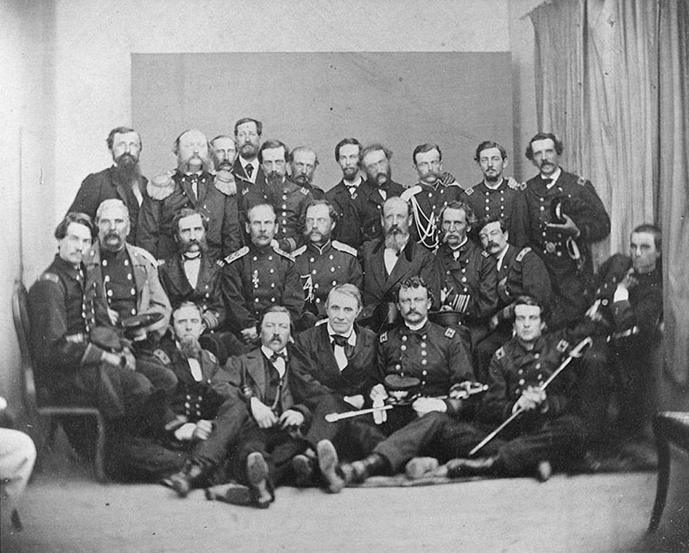 Secretary Gustavus Fox with Russian and U.S. officers, 1866.