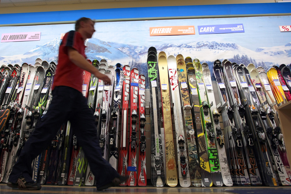 Skis on sale in a SportMaster chain store.
