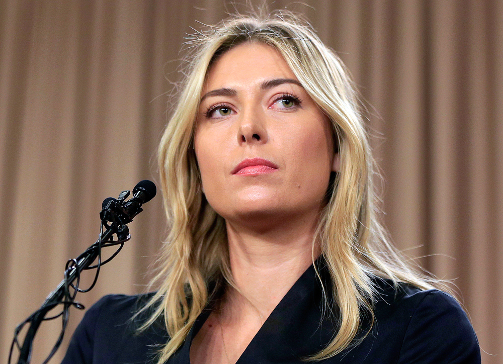 Maria Sharapova speakings about her failed drug test at the Australia Open during a news conference in Los Angeles. Sharapova has been suspended for two years by the International Tennis Federation for testing positive for meldonium at the Australian Open.