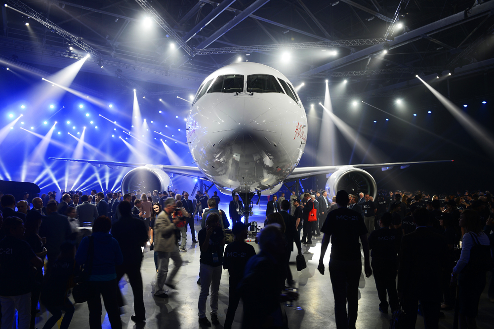 Presentation of the MC-21-300 mid-range aircraft at the Irkutsk Aircraft Plant (Irkut Corporation).