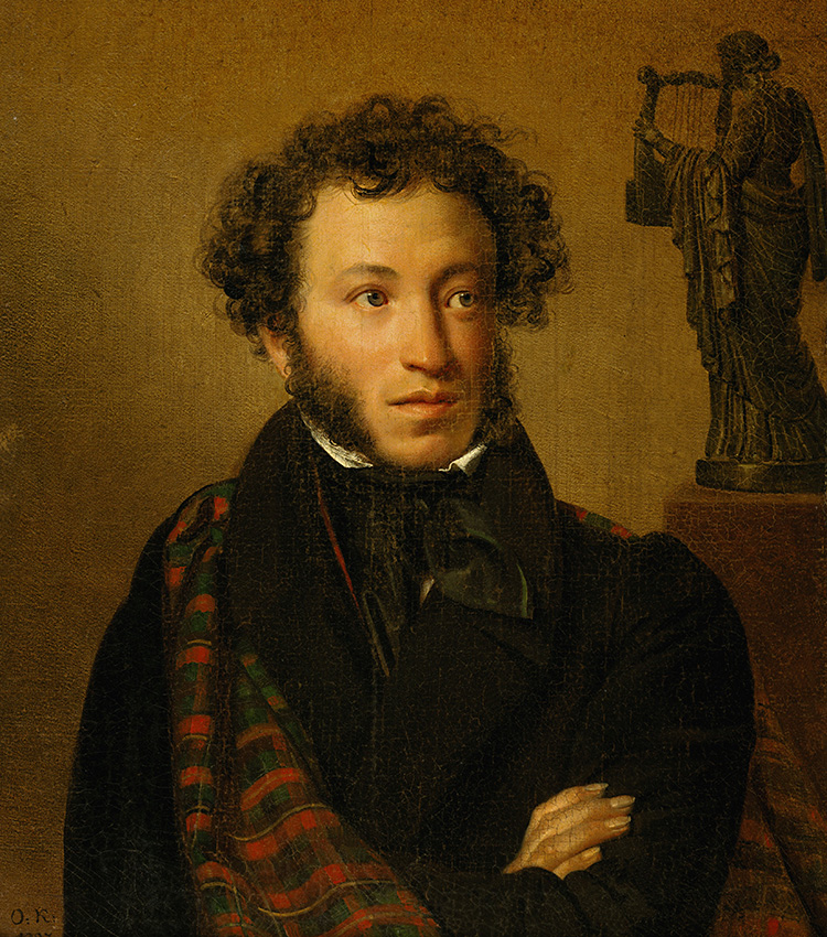 "Portrait of Alexander Pushkin, 1827. Two great Russian cultural figures of the 19th century ""meet"" in this painting – portrait artist Kiprensky and poet Pushkin. The cloak, thrown over the poet's shoulder, reflects a tribute to renowned British poet Lord Byron."