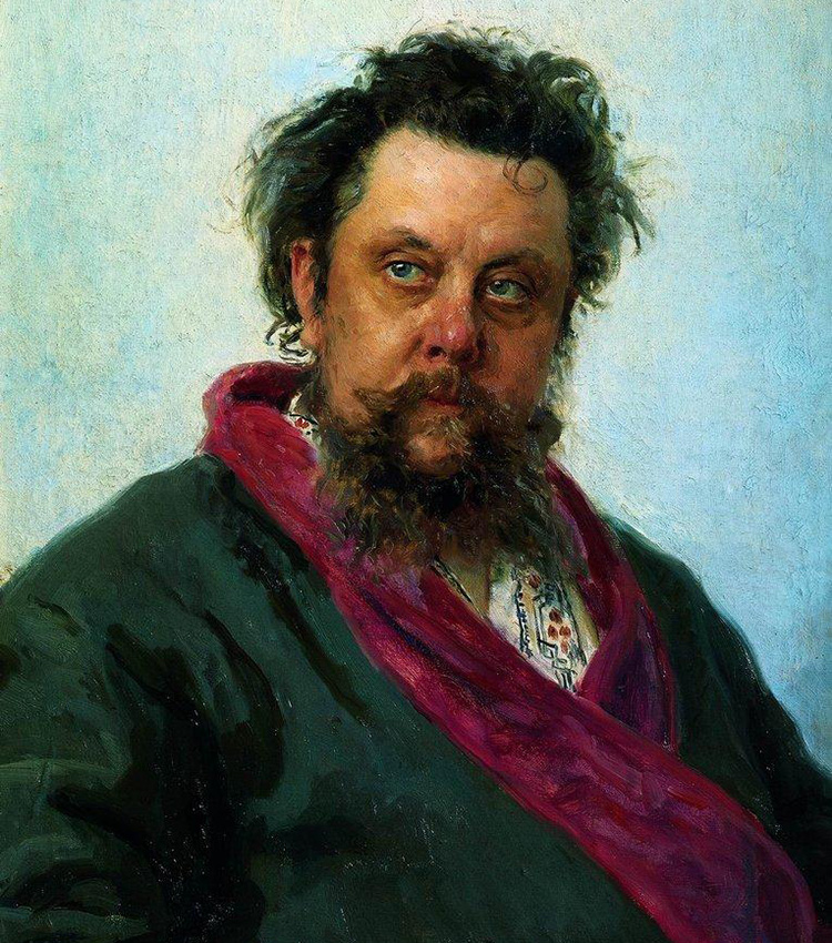Portrait of the composer Modest Mussorgsky, 1881. This portrait was painted several days before the death of the great Russian composer Modest Mussorgsky. The suffering of his illness is captured in the composer's face and how he glances at the artist.