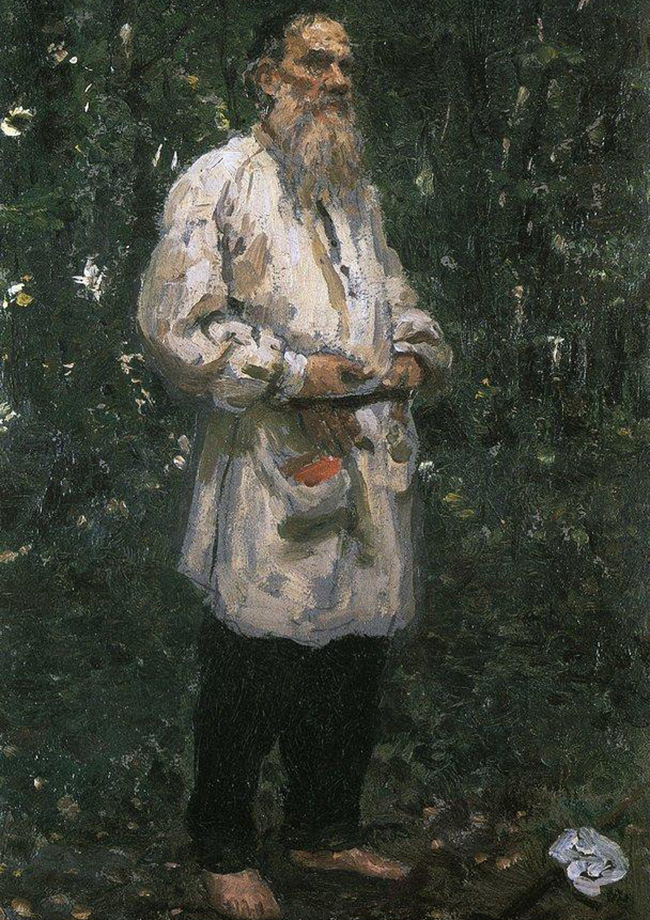 Leo Tolstoy barefoot, 1901. Leo Tolstoy, who some say is the greatest Russian writer to ever live, was close friends with the artist Ilya Repin. The artist often stayed in Yasnaya Polyana, Tolstoy's residence, and left the equivalent of a gallery full of different portraits of the writer. This painting from 1901 captures Tolstoy barefoot and standing in the woods. The character of the painting reflects Tolstoy's spiritual quests at a time when he was seeking asceticism, simplification and how to be close to the people.