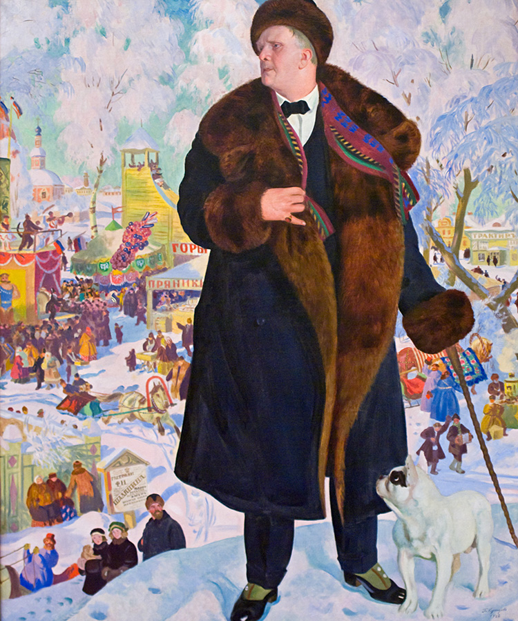 Portrait of Fyodor Chaliapin, 1921. This portrait of the famous opera singer Feodor Chaliapin is truly a masterpiece. The artist Boris Kustodiev sees in the singer a great man and an engaging personality and this comes out in the painting.
