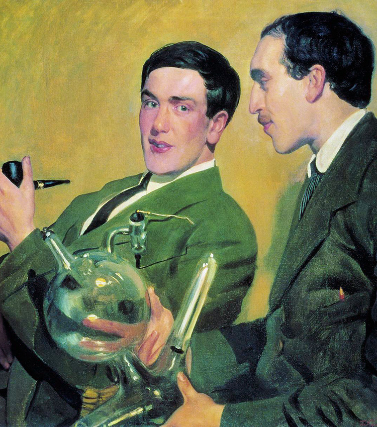 Portrait of Peter Kapitza and Nikolai Semyonov. In 1921 Boris Kustodiev painted two young men, Nikolai Semenov and Petr Kapitsa, who could not pay with money and so gave Kustodiev a cock and two bags of flour. After many years, they were awarded the 1956 Nobel prize in Chemistry.