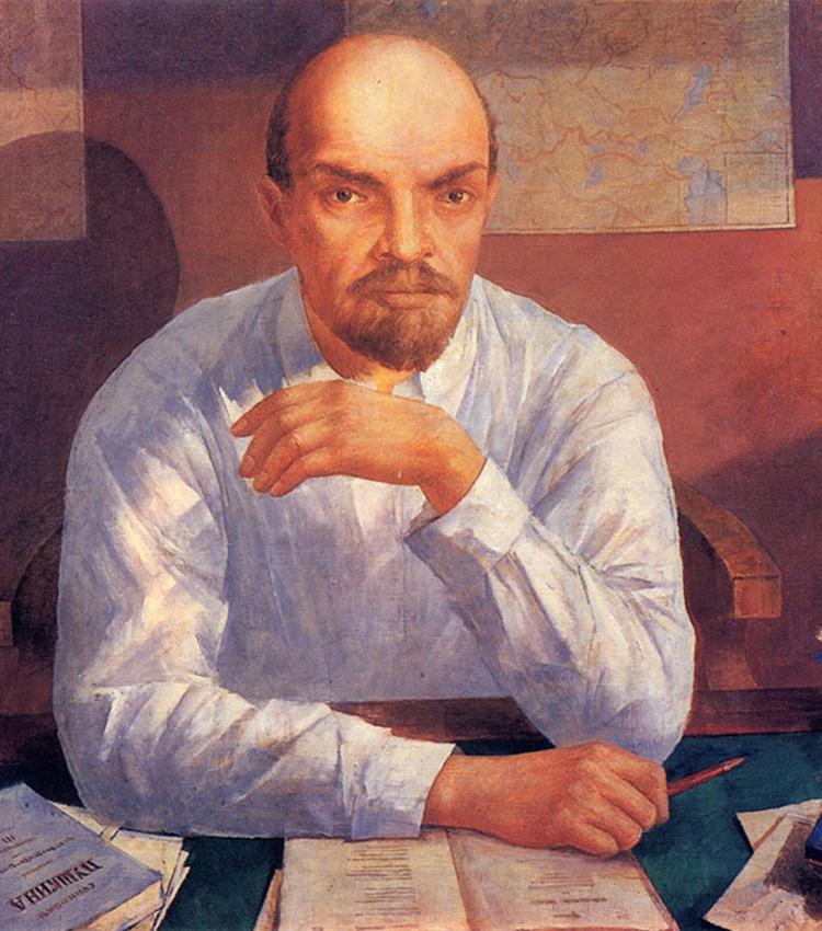 Portrait of Lenin, 1934. Petrov-Vodkin was an outstanding painter, unsurpassed draftsman, original theorist, natural-born teacher, gifted writer, and eminent public figure. He was a multitalented individual, a one-of-a-kind artist, and the son of his times, displaying various interests: from painting Russian icons to Vladimir Lenin, the leader of the Russian Revolution.