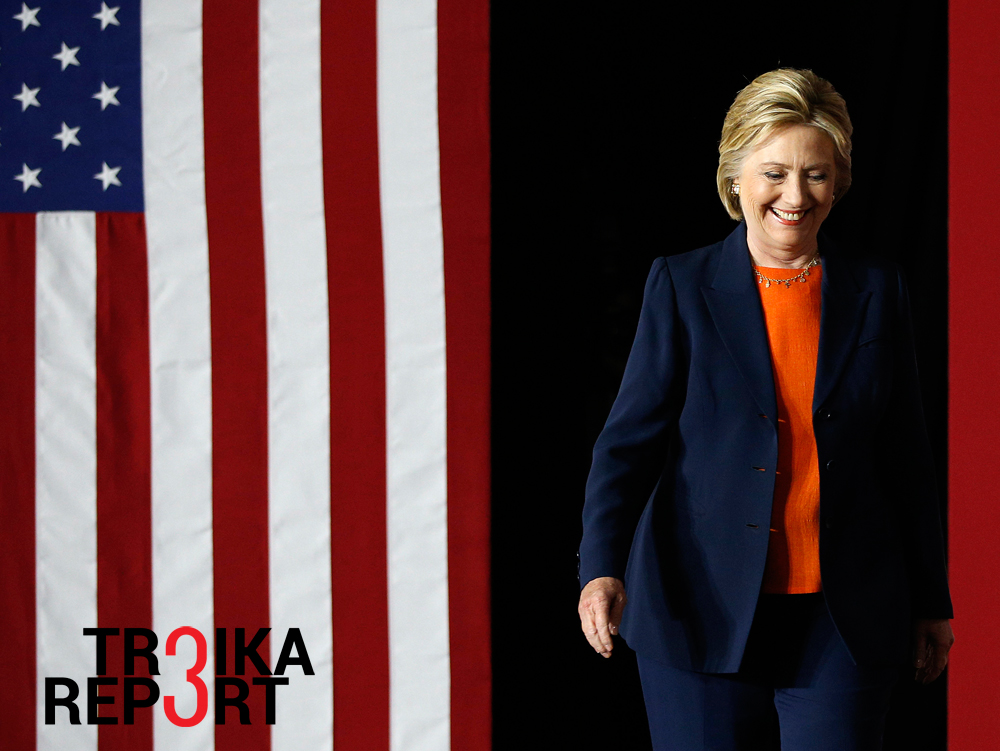 Democratic presidential candidate Hillary Clinton takes the stage before giving an address on national security, June 2, 2016, in San Diego, Calif.