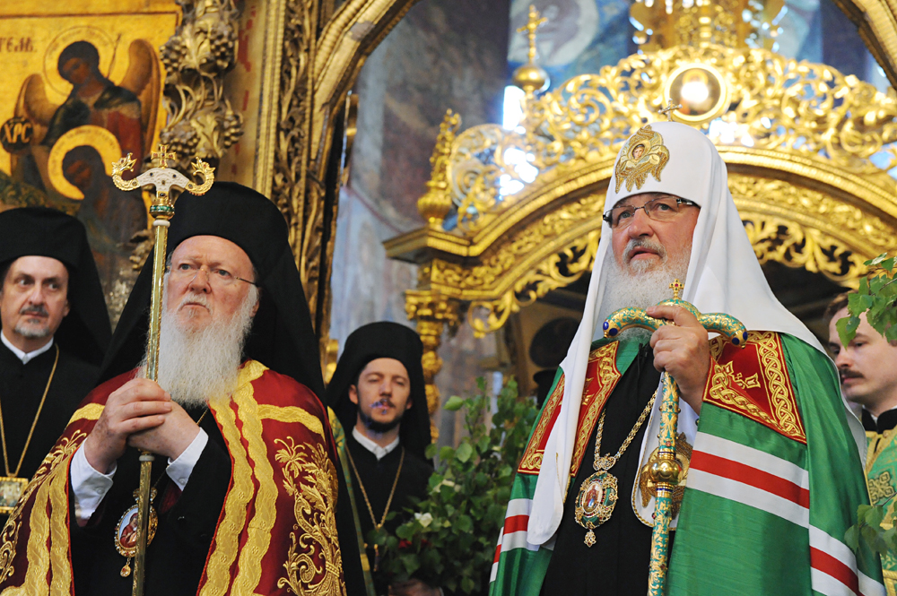 Patriarch Kirill of Moscow and All Russia, front right, and Ecumenical Patriarch Bartholomew I of Constantinople, front left, after the Divine Liturgy on Pentecost at the Trinity Lavra of St. Sergius, 2010.