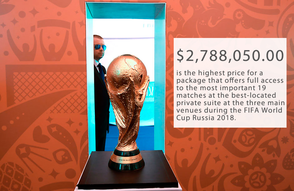 "On June 7, 2016 FIFA, football's governing body, began sales for the most expensive tickets to the 2018 World Cup. Twenty packages called the ""Bolshaya Troika"" (""Big Three""), ranging from $1.4 million to nearly $2.8 million, guarantee luxury hospitality and the best available seats at 19 matches in Moscow and St. Petersburg, including the Opening Match, both Semi-finals and the 2018 FIFA World Cup Final. Standard seat tickets haven't gone on sale yet and their price range is still unknown.The tournament will be staged at 12 different stadiums in 11 cities across the country. The opening ceremony will take place on June 14 and the final match will be played on July 8. Both events will be held at Luzhniki Stadium in Moscow.FIFA president: World to see best world football cup in 2018>>>"