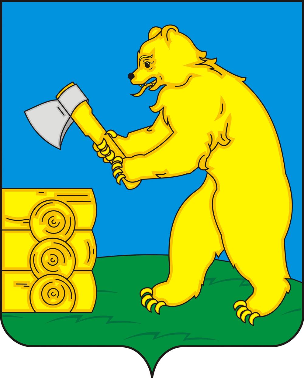 Medvjed-drvodjelja na grbu Baltasinskog rajona (Tatarstan, 780 km istočno od Moskve). Balta je na tatarskom sjekira, a medvjed je simbol prirode i moći. Izvor: Lori / Legion-Media