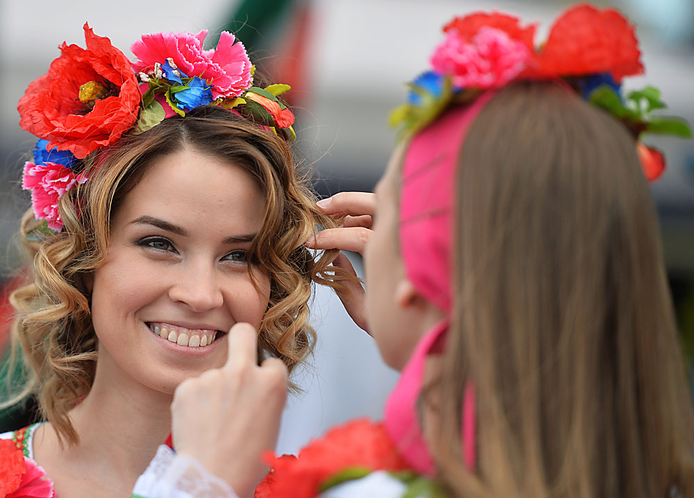 Young women during the events celebrating Day of Russia in Kazan.