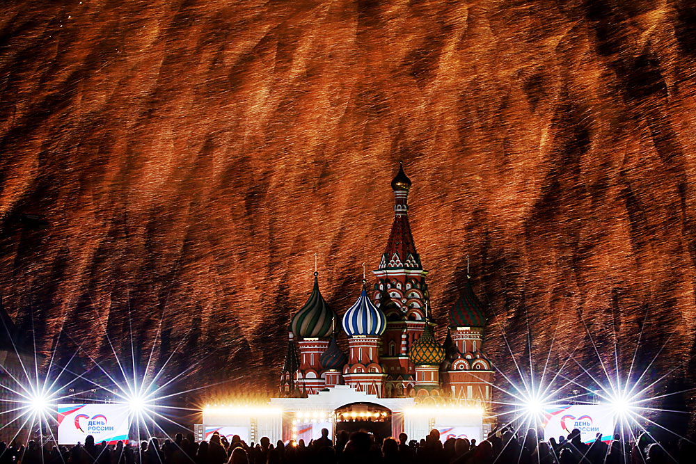 Fireworks over the Intercession Cathedral (St Basil's Cathedral) in Red Square during a concert celebrating the Day of Russia.