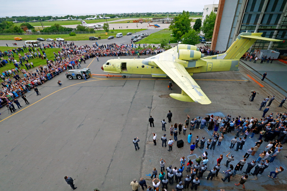 The unveiling ceremony for a Beriev Be-200ChS amphibious aircraft, modified for the Russian Emergency Situations Ministry at the Beriev Aircraft Company, May 30, 2016.