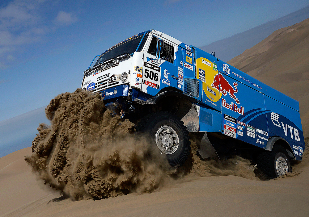 Andrey Karginov of Russia drives his Kamaz truck during the 10th stage of the Dakar Rally.