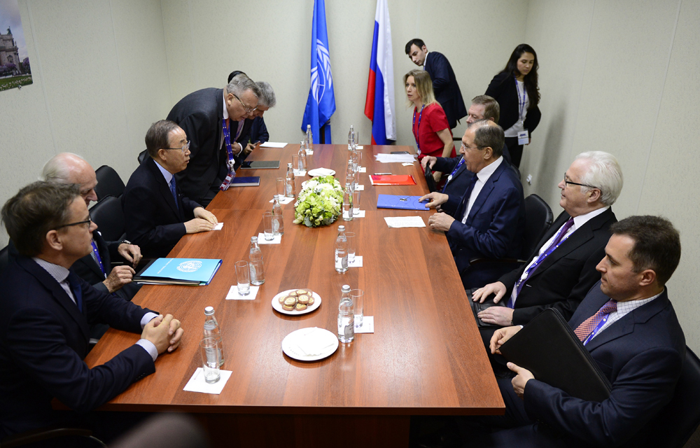 A meeting of Russian Foreign Minister Sergei Lavrov with UN Secretary General Ban Ki-moon as part of the 20th St. Petersburg International Economic Forum at the ExpoForum Convention and Exhibition Center in St. Petersburg, Russia, June 16, 2016.