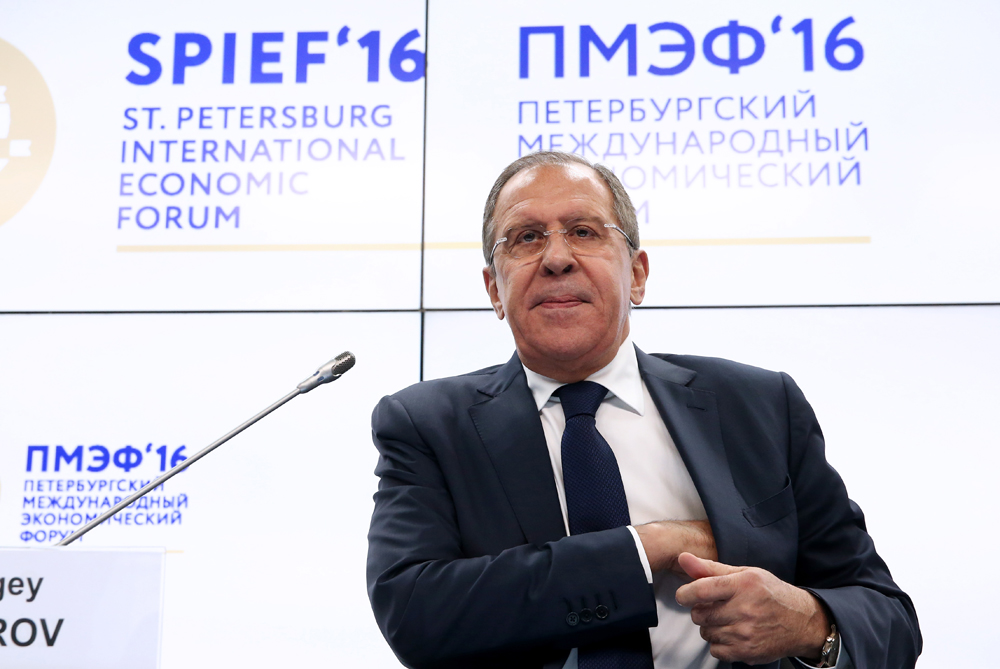 "Russian Foreign Minister Sergei Lavrov attends a Valdai Club Session titled ""Russia and the EU: What Follows the ""Strategic Partnership"" that Never Happened?"" as part of the 20th St. Petersburg International Economic Forum at the ExpoForum Convention and Exhibition Center in St. Petersburg, June 16, 2016."