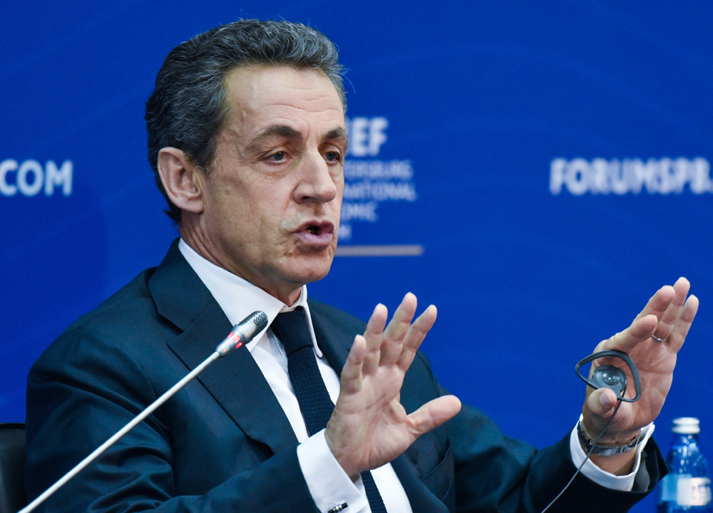 "Nicolas Sarkozy, President of France (2007–2012), speaks during a discussion titled ""Europe: Quo Vadis?"" as part of the 20th St. Petersburg International Economic Forum at the ExpoForum Convention and Exhibition Center in St. Petersburg, Russia, June 16, 2016."
