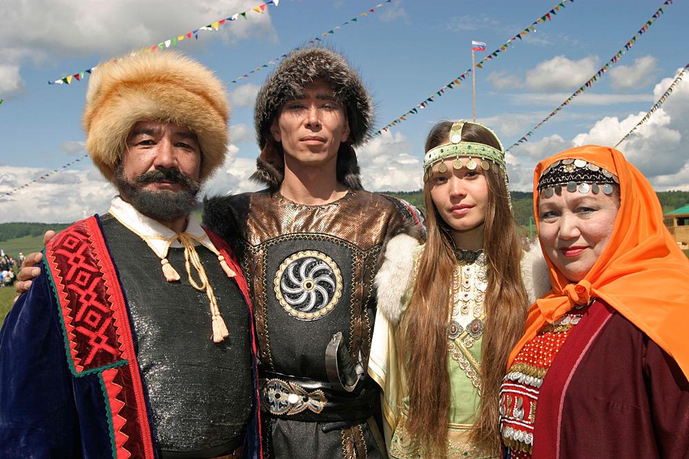 Actors from a play Salavat Yulayev commemoration Sabantuy Festival in Republic of Bashkortostan