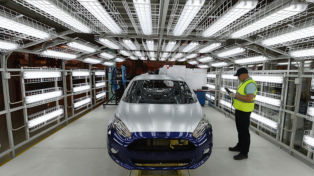Naberezhnye Chelny. A car-testing line at the Ford Sollers automotive plant which has started assembling Ford Fiesta cars.
