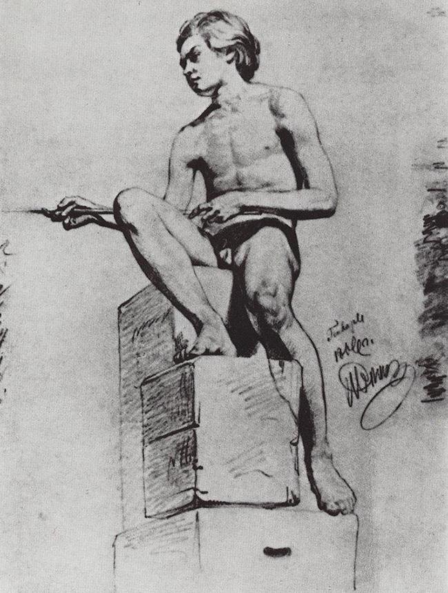 Ilya Repin, Modello seduto, 1866
