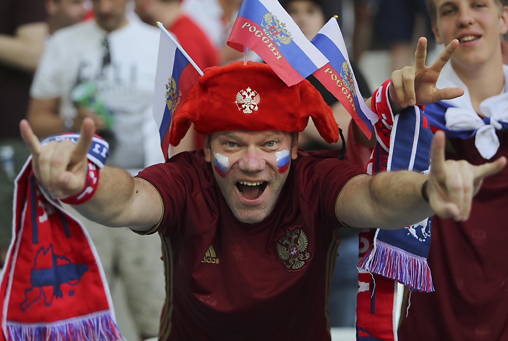 A Russian supporter cheers prior to the Euro 2016 Group B soccer match between England and Russia, at the Velodrome stadium, in Marseille, France, Saturday, June 11, 2016.