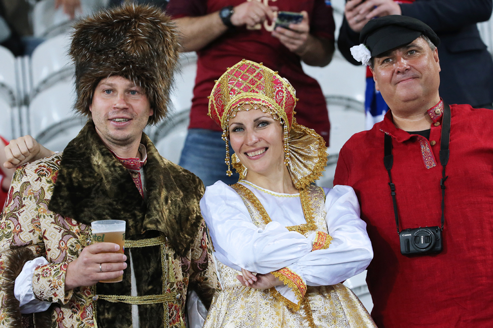 Russian fans wearing traditional costume look on before a 2016 UEFA European Championship Group Stage football match between Russia and Slovakia at Stade Pierre Mauroy.