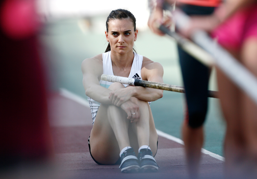CHEBOKSARY, RUSSIA - JUNE 20, 2016: Athlete Yelena Isinbayeva competes in the women's pole vault event during the 2016 Russian national track and field championships.