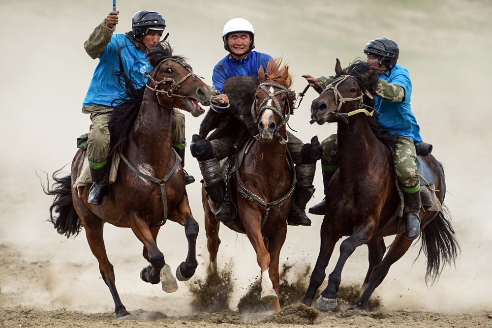Participants of a Buzkashi competition in the village if Yelo, Republic of Altai.